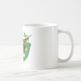 Frog Leaps over Calico Kitten's Tail Coffee Mug
