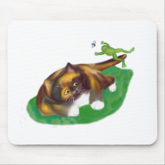 Frog Leaps over Calico Kitten's Tail Mouse Pad