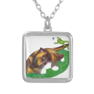 Frog Leaps over Calico Kitten's Tail Square Pendant Necklace
