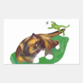 Frog Leaps over Calico Kitten's Tail Rectangular Sticker