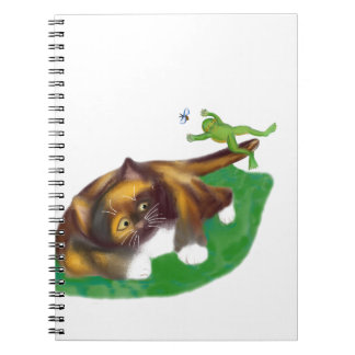 Frog Leaps over Calico Kitten's Tail Spiral Notebook