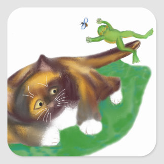 Frog Leaps over Calico Kitten's Tail Square Sticker