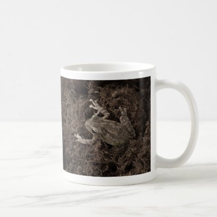 frog left on moss sepia tone mugs