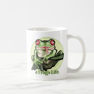 frog_life_zazzle1, frog_life_zazzle2 taza básica blanca