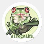 frog_life_zazzle1 pegatina redonda