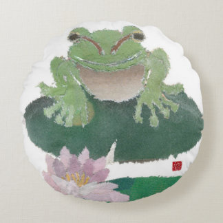 Frog, Lily Pad, Lotus Round Pillow