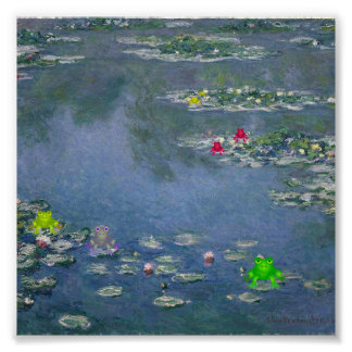 Frog Lily Pad Monet Poster