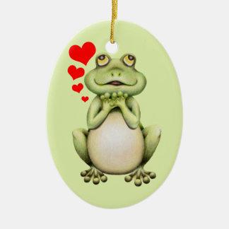 Frog Love Drawing Ceramic Ornament