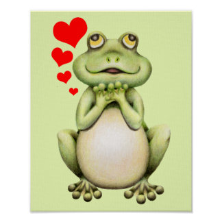 Frog Love Drawing Poster
