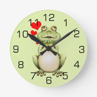 Frog Love Drawing Round Clock