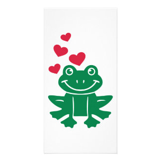 Frog love red hearts photo greeting card