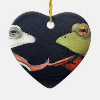 Frog Love -- The French Kiss Ceramic Ornament