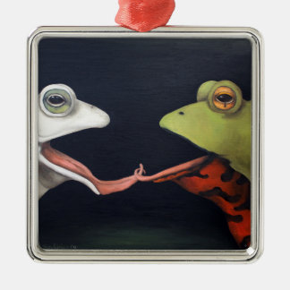 Frog Love -- The French Kiss Metal Ornament