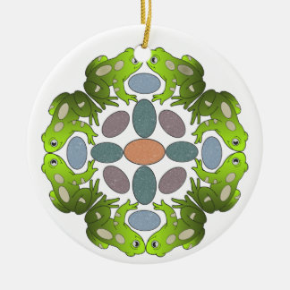 Frog Mandala Ceramic Ornament