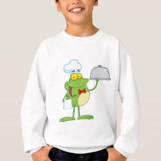 Frog Mascot Chef Serving Food In A Sliver Platter Sweatshirt