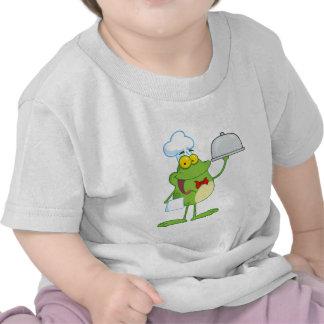 Frog Mascot Chef Serving Food In A Sliver Platter Shirt