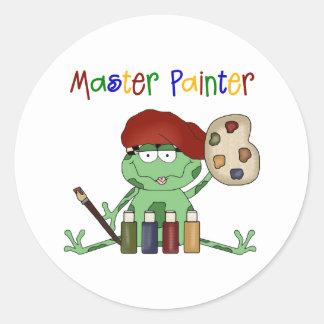 Frog Master Painter Round Sticker