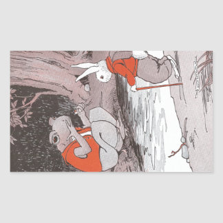 Frog Meets Backpacking Bunny in Woods Rectangular Sticker