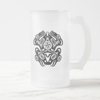 Frog Native American Design Frosted Glass Beer Mug