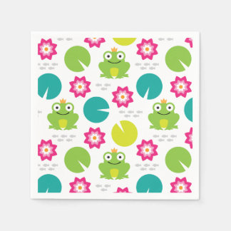 Frog & Nenuphar Seamless Pattern Napkin