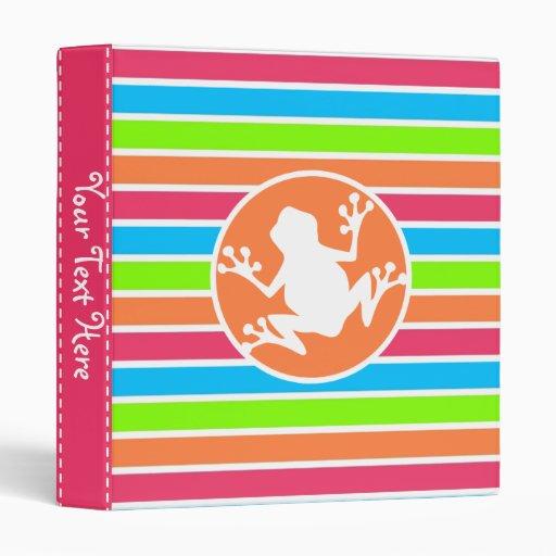 Frog; Neon Orange Pink Blue Green Stripes Vinyl Binders