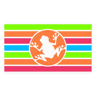 Frog; Neon Orange Pink Blue Green Stripes Business Card