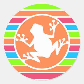 Frog; Neon Orange Pink Blue Green Stripes Classic Round Sticker