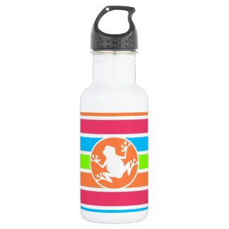 Frog; Neon Orange Pink Blue Green Stripes Water Bottle