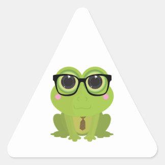 Frog Nerd Triangle Sticker