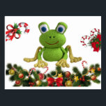 """Frog of ganchillo for Christmas with its candies…. Postcard<br><div class=""""desc"""">A frog of ganchillo or crochet is anxious to eat candies of Christmas. It likes to make its Christmas decoration of customized form! The frog lives!</div>"""