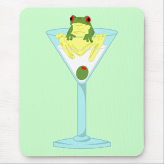 Frog & Olive in Martini Glass Mouse Pad