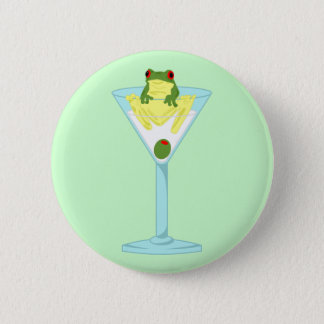 Frog & Olive in Martini Glass Pinback Button