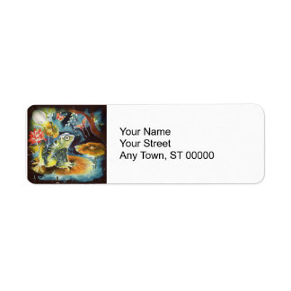 Frog on a Lily Pad in the Moonlight Art Painting Label