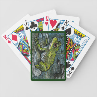 Frog On A Rock: Illustration: Nature, Pond Bicycle Playing Cards