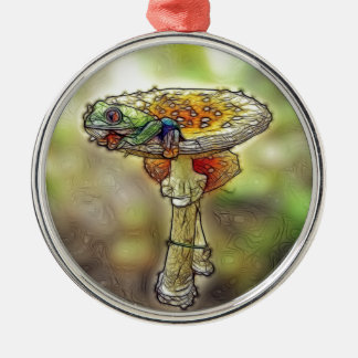Frog on a Stool Round Metal Christmas Ornament