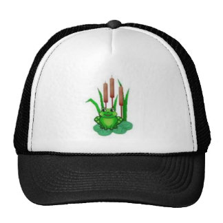 frog on a water lilly hats
