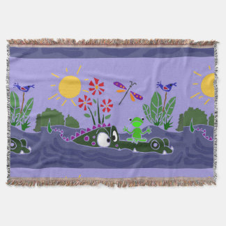 Frog on Alligator Nose Folk Art Throw Blanket