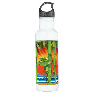 Frog On Bamboo Stainless Steel Water Bottle