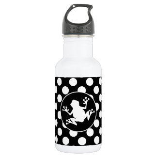 Frog on Black and White Polka Dots 18oz Water Bottle