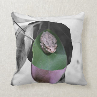 Frog on circle green leaf bw cutout pillow