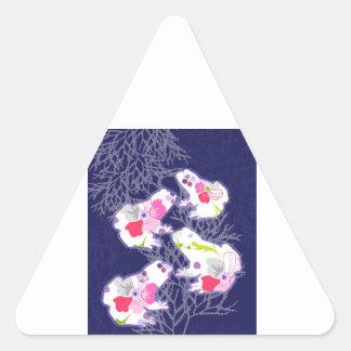 Frog on dark blue background. triangle sticker