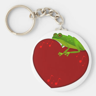 Frog on Heart with music notes Keychain