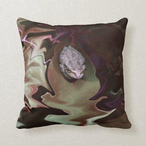 Frog on leaf purplish abstract blur pillow