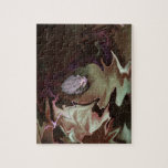Frog on leaf purplish abstract blur puzzle