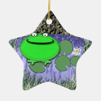Frog on lily pad Double-Sided star ceramic christmas ornament