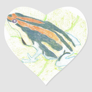 Frog on Lily Pad Heart Sticker