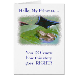 "FROG ON LILY PAD/""KISS ME, I'M REALLY A PRINCE"" CARD"