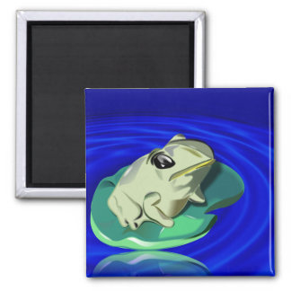 Frog On Lily Pad 2 Inch Square Magnet