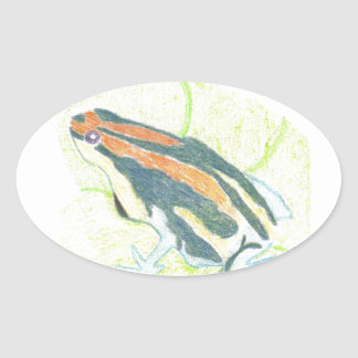 Frog on Lily Pad Oval Sticker
