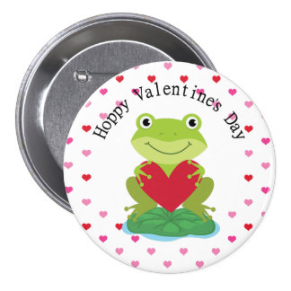 Frog on Lily Pad Valentine's Pinback Button